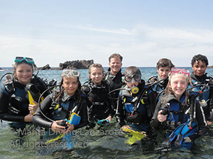Group of discover Scuba divers in Lanzarote