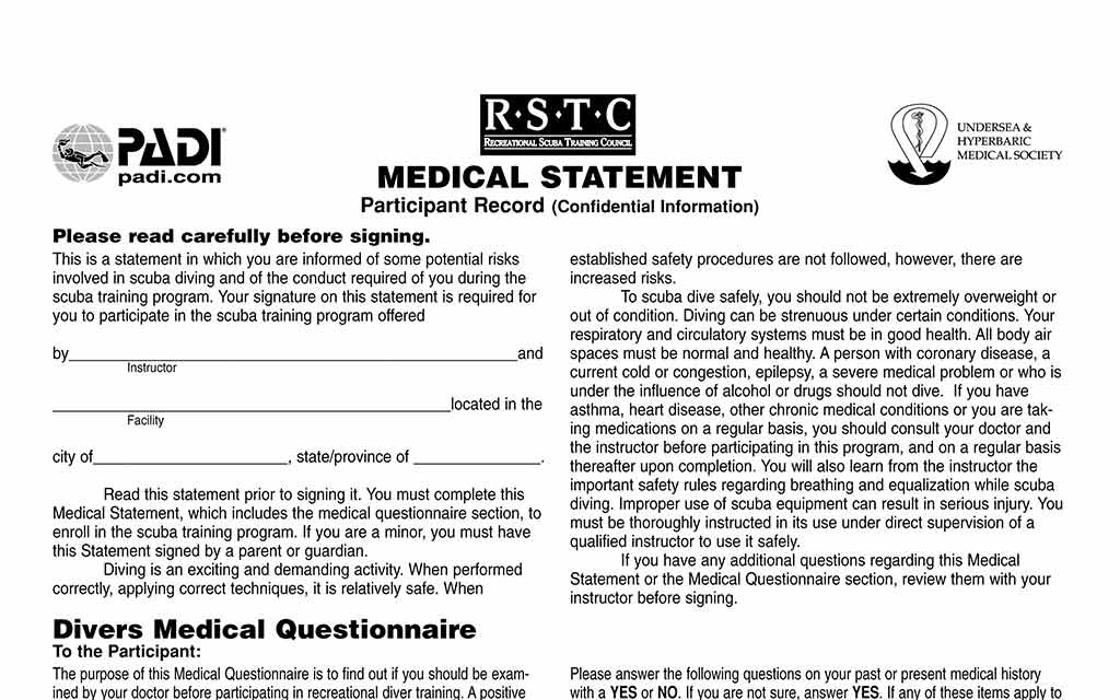 PADI medical statement for scuba diving in Lanzarote