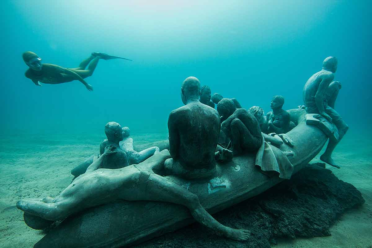 Raft of Lampedusa Museo Atlantico underwater art museum Lanzarote Canary Islands