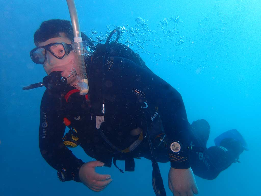 Phil exploring the dive sites in Lanzarote after passing his PADI open water course!